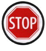 SERVICE DOG Red STOP SIGN Symbol 7.6cm Black Rim Round Sew-on Patch