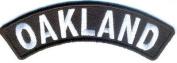 OAKLAND USA City White on Black 10cm x 2.5cm QUALITY Rocker Biker Vest Patch PAT-2752