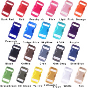 Navy 50 Pcs 1cm Colourful Curved Side Release Plastic Buckle for Paracord Bracelet 22 Colours Free Shipping