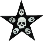 Novelty Iron On Patch - 8.9cm Tattoo Art Skull Heads in Black Star Applique