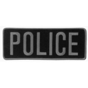 POLICE Officer Large Uniform BACK PATCH Badge Emblem Insignia 28cm x 10cm grey on BLACK