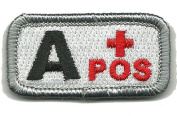 """Tactical Blood Type Patch """"Type A Positive"""" 2.5cm x 5.1cm - Red & White"""