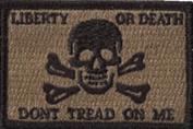 Liberty Or Death Skull & Bones Tactical Patch - Coyote