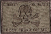 Liberty Or Death Skull & Bones Tactical Patch - ATACS-Tan