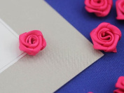 1.5cm Pink Fabric Rose Floral Embellishments For Scrapbooking - 50 Pieces