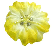 Cuteque International Soft Silk Flower 6-Pack Rhinestone Embellishments, Yellow