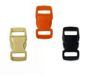 Mix of 30 Black, Tan , Orange 1cm Buckles (10 each) , Contoured Side-Release. Perfect for Paracord Bracelets.