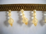 Old Gold Sea Glass Beaded Fringe 4.4cm BTY