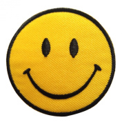Smiley Happy Smile Face Yellow Iron on Patches Embroidered 7.6cm X 7.6cm 1 Peice Per Order
