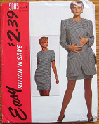 Stitch 'n Save McCall's 5685 Sewing Pattern ~ Misses' Unlined Jacket and Chemise Dress, Sizes 8-10-12