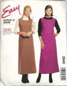 Stitch'N Save 2840A Sewing Pattern Misses Dress Jumper Size 8-14
