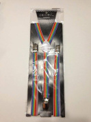 Skinny Thin Slim Suspenders Unisex w/ Elastic Y-Shape Adjustable- Rainbow Design