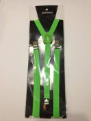 Skinny Thin Slim Suspenders Unisex w/ Elastic Y-Shape Adjustable- Green