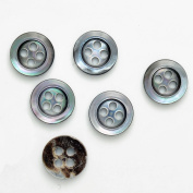Mother of Pearl Shell Buttons, 1.1cm by 6PCS, GREY, GN-2007