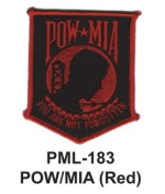 10cm Embroidered Millitary Large Patch POW/MIA Red