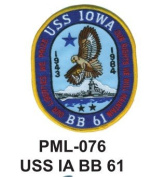 10cm Embroidered Millitary Large Patch USS IA BB 61