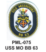 10cm Embroidered Millitary Large Patch USS MO BB 63