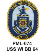 10cm Embroidered Millitary Large Patch USS WI BB 64