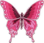 Pink Butterfly Embroidered Iron On Patch