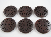 30pcs New Pierced Flower Wood Buttons 30mm Sewing Craft