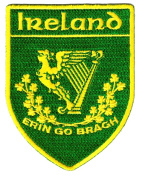Erin Go Bragh Shield Embroidered Patch Irish Iron-On Ireland Clover Shamrock Emblem