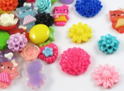 50pcs Many Styles Resin Flower Flatback Appliques DIY Craft Appliques