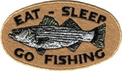 Eat, Sleep, Go Fishing - Oval Logo With Trout Fish - Embroidered Iron On Or Sew On Patch