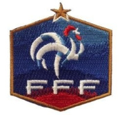 France FFF Fifa World Cup Soccer Iron on Patch Crest Badge ... 7cm X 6.4cm .. New
