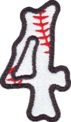Number 4 Baseball Embroidered Sew on Patch
