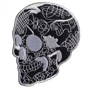 Skull Head Biker Tattoo Horror Punk Emo Rock Goth Retro Iron on Patches Embroidered Black 3 X 3.75 -Inches 1 Peice Per Order