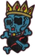 Reed Artist Novelty Patch - 7.6cm Dead Skull King w/ Crown & Black Heart Applique