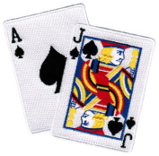 Blackjack Iron-On Patch Embroidered Gambling Emblem Ace Jack of Spades Las Vegas Playing Cards Souvenir