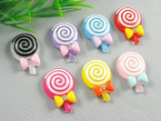 21pcs Resin Flatback Lollipop Tie Button Scrapbooking DIY Craft Applique