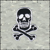 Skull & Crossbones White on Black Embroidered Iron On Applique Patch 7cm