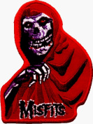 The Misfits - Red Crimson Ghost with Logo (Skeleton with Bony Hand & Logo) - Embroidered Iron On or Sew On Patch