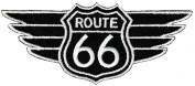 Route 66 Wings Black Embroidered Patch Iron-On Highway Road Sign Biker Emblem