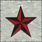 7.6cm Nautical Tattoo 3D Star Embroidered Iron On Applique Patch FD - Red & Black S3A