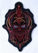 Skull PIN Stripe Embroidered Iron on Biker [15cm ] Patch