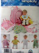 Simplicity Sewing Pattern 0383, 38cm Baby Doll Clothes, Blanket and Doll Carrier
