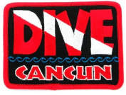 Dive Cancun Patch Embroidered Iron On Scuba Diving Flag Emblem Mexico Souvenir