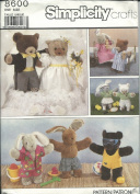Simplicity 8600 Sewing Pattern Crafts Bunny & Bears Clothes 41cm x 38cm