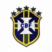 Brasil CBF Brazil Fifa World Cup Soccer Iron on Patch Crest Badge ... 8.3cm X 6.4cm .. New