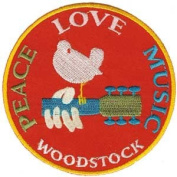 """Woodstock - """"Peace, Love, Music"""" 7.6cm Sew / Iron On Embroidered Patch"""