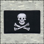 Flag Jolly Roger Skull Crossbones Embroidered Iron On Badge Applique Patch FD