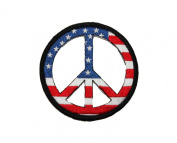 American Flag Peace Sign Patriotic Iron On Embroidered Patch Applique