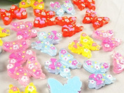 24pcs Resin Flatback the Button Cute Bow Tie