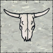 Cow Skull Frontal Black on White Embroidered Iron On Applique Patch FD