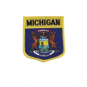 Michigan USA State Shield Flag Iron on Patch Crest Badge .. 7.6cm X 8.9cm ... New