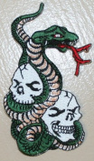 Skull & Snake Embroidered iron on Motorcycle Biker Applique Patch