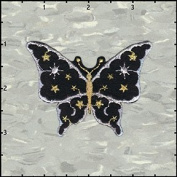 Butterfly Insect Black Moon & Stars Embroidered Iron On Badge Applique Patch FD